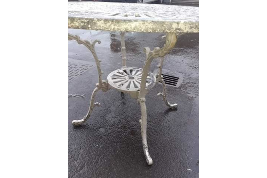 Before Stripping - Cast Alloy Table