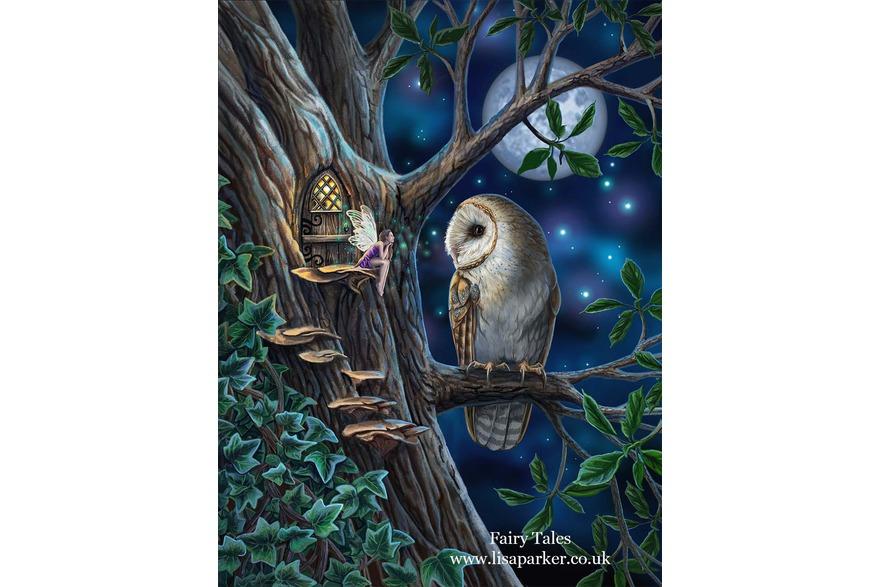 barn owl and fairy artwork, magical animals by Lis