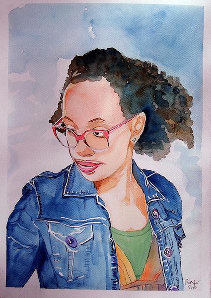 portrait à l'aquarelle, à l'encre de Chine, ou aux crayons de couleurs