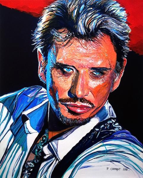 portrait 1 personne à la peinture acrylique sur toile