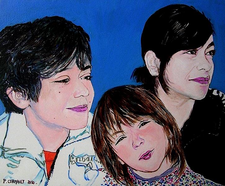 portrait 3 personnes à la peinture acrylique sur toile
