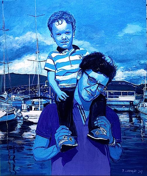 portrait 2 personnes à la peinture acrylique sur toile