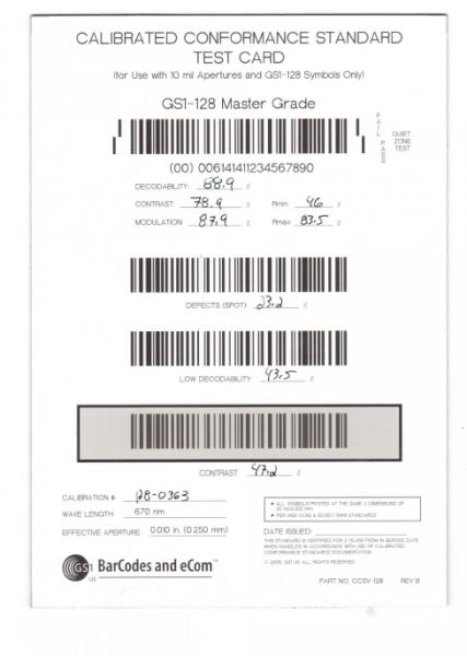 GS1 Code 128 Kalibrierkarte