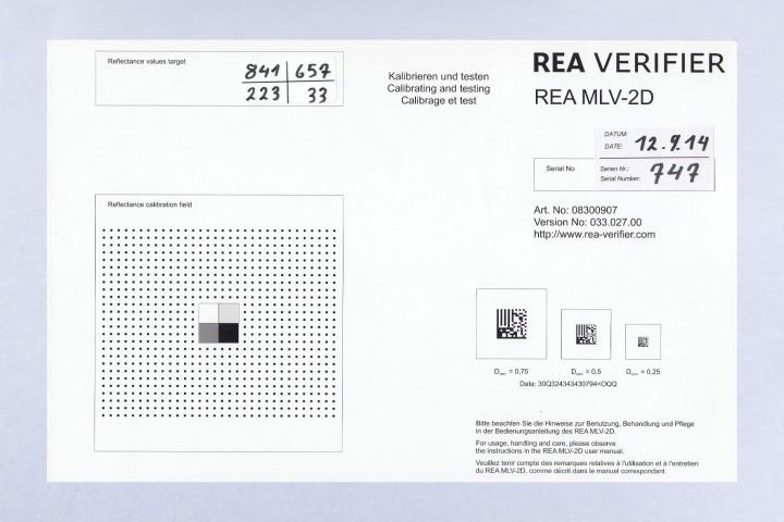 REA Kablibrierkarte mit Testcode