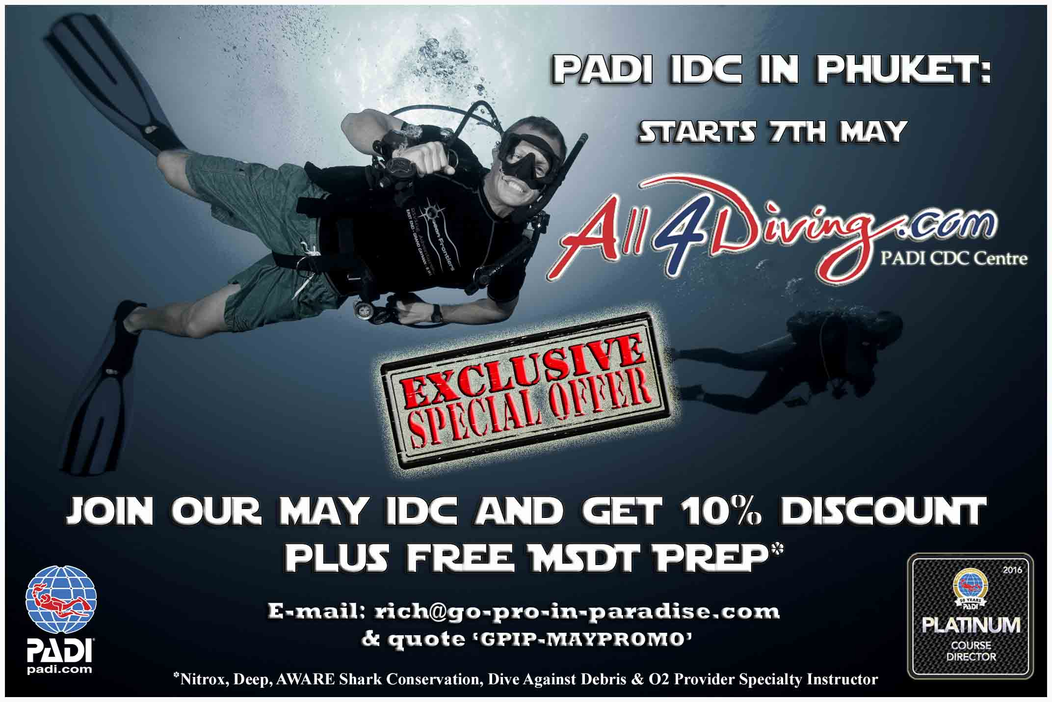 PADI IDC, free, discount, Puket, Tailand, Platinum