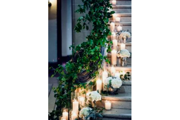 Candle Display on Staircase