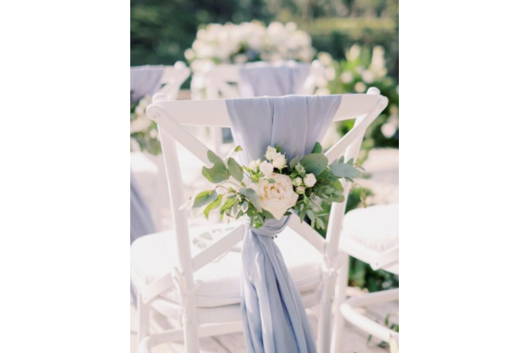Blue Chiffon Chair Drape with Florals