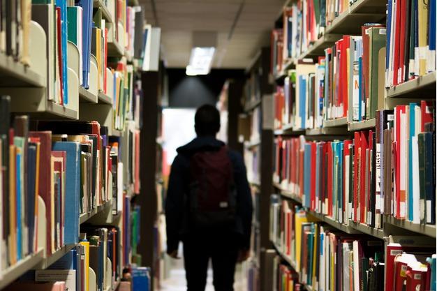 Zu sehen ist eine Person zwischen Bücherregalen.