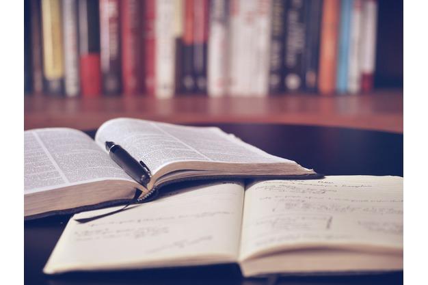 Zu sehen sind zwei offene Bücher und ein Stift.