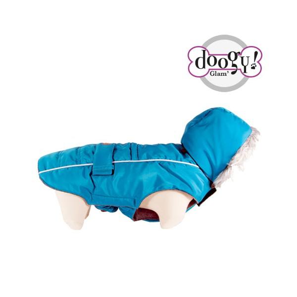 doudoune turquoise longueur 48 cm
