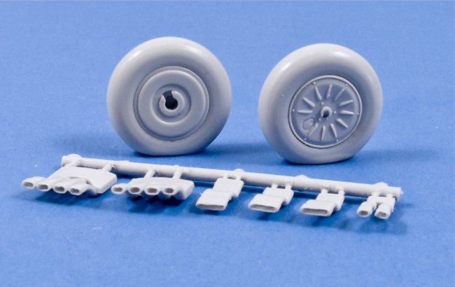 MST32011 Nakajima Ki-84 Frank Weighted Resin Wheels (Vented Rims) & Hollowed Exhausts