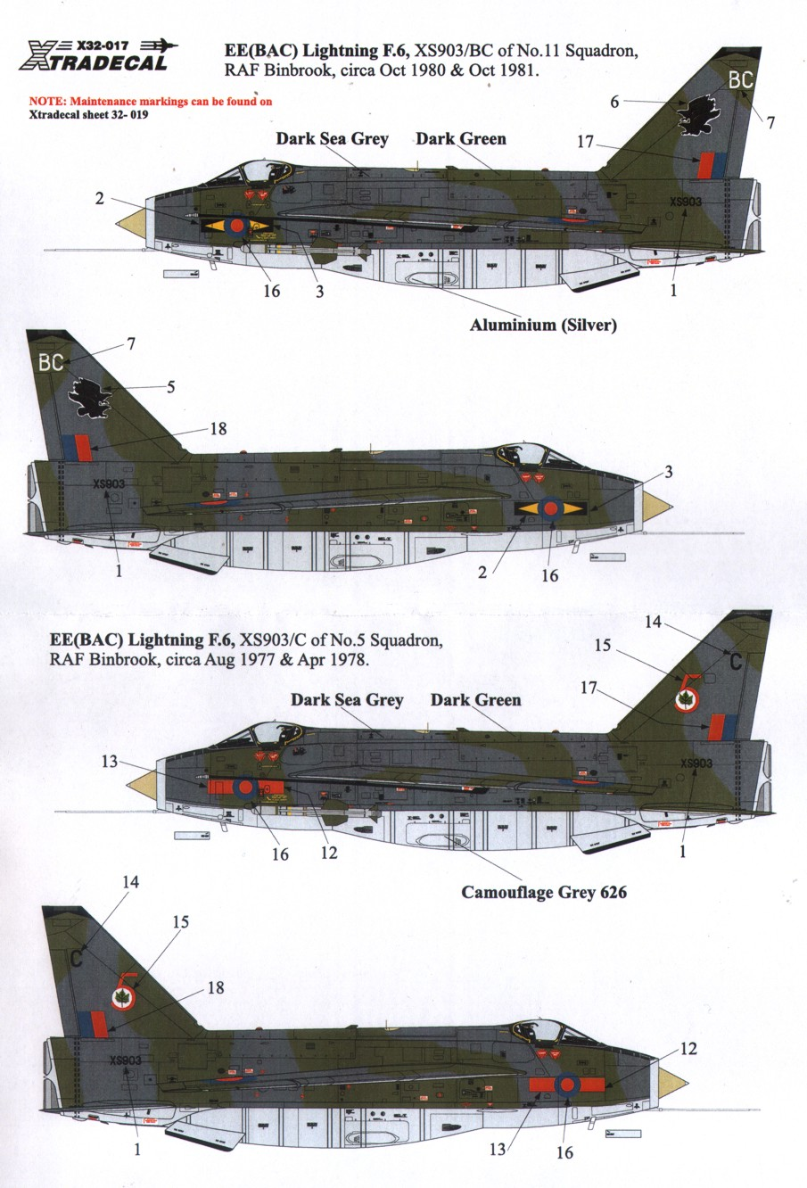Xtradecal X32017 1:32 BAC/EE Lightning F Mk.6 Part 2