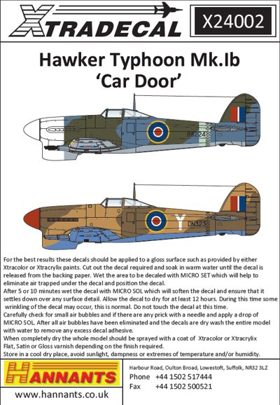 Xtradecal 1:24 Hawker Typhoon Mk.Ib Car Door
