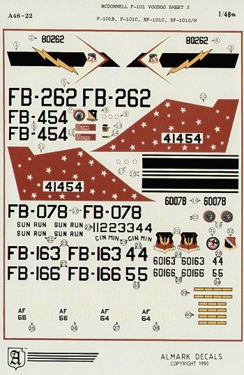 Almark Decals 4822 1:48 McDonnell F-101 Voodoo