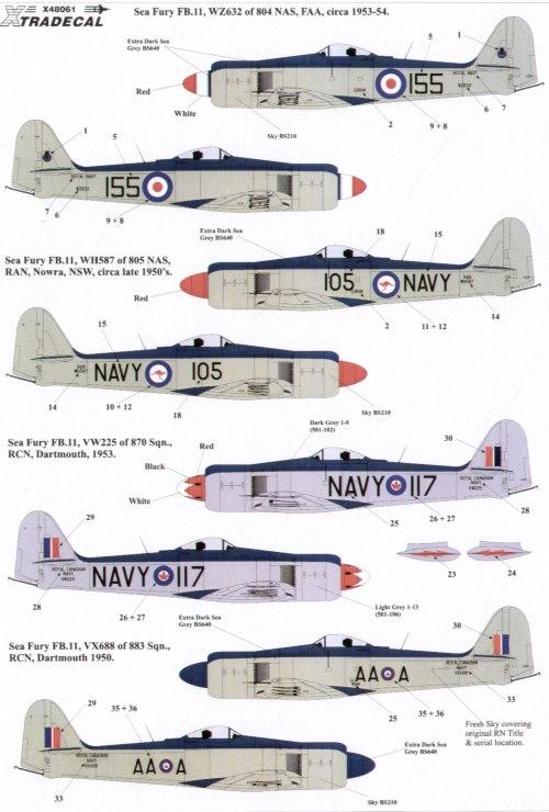 Xtradecal X48061 1:48 Hawker Sea Fury FB.11