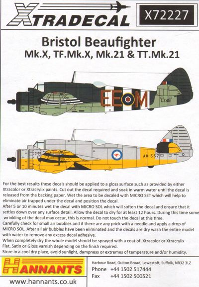 X72227 1:72 Bristol Beaufighter Mk.X