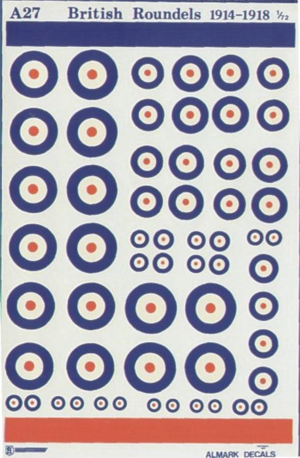 A27 RFC / RAF WWI National Insignia / Roundels
