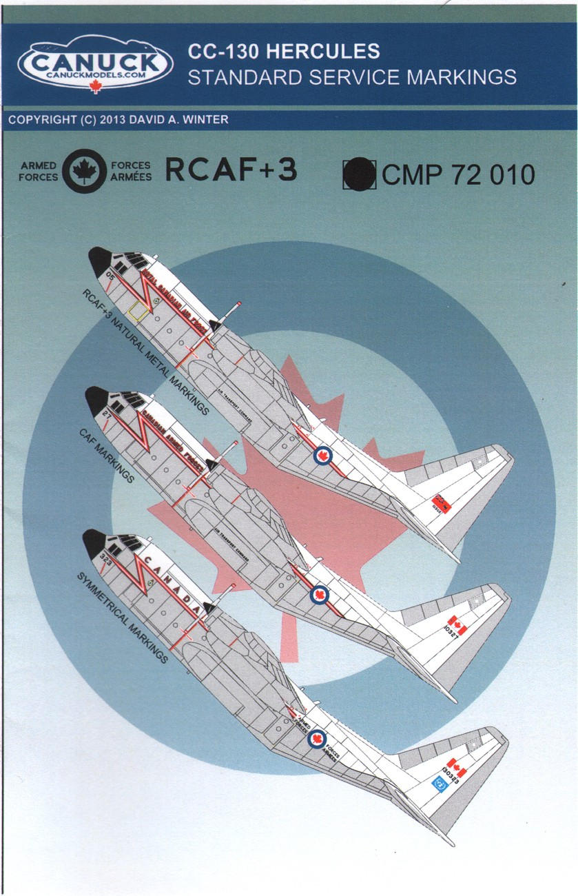 Canuck Models Decals 1:72 CC-130 Hercules Standard Service Markings