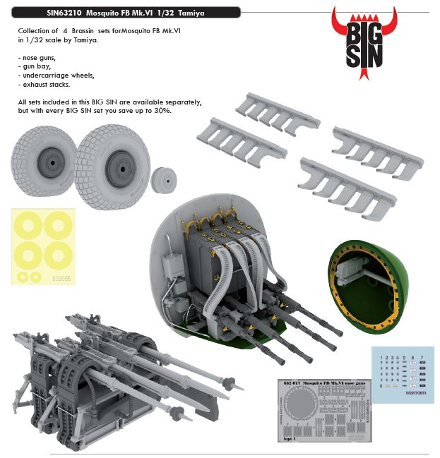 Eduard Big Sin 1:32 de Havilland Mosquito NF Mk.II / FB Mk.VI - Pitot tube & armament set