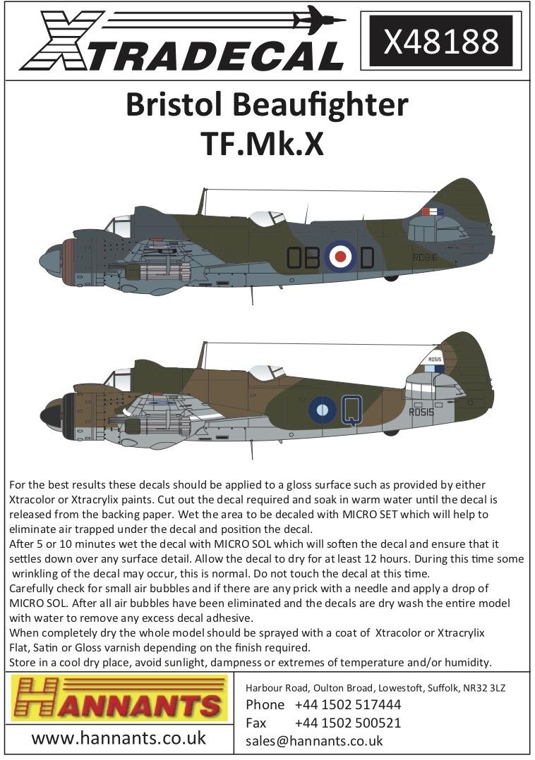 Xtradecal X48188 1:48 Bristol Beaufighter TF. Mk.X
