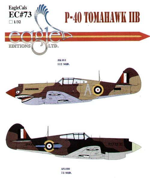 Eagle Cals 32073 1:32 Curtiss P-40B Tomahawk IIB