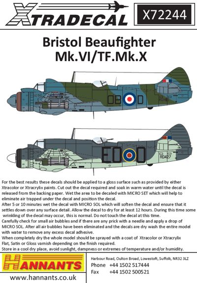 X72244 1:72 Bristol Beaufighter Mk.VI/TF.Mk.X Thimble Nose