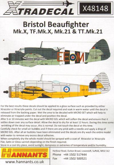 Xtradecal X48148 1:48 Bristol Beaufighter Mk.X, TF Mk.X, Mk.21, TT Mk.21