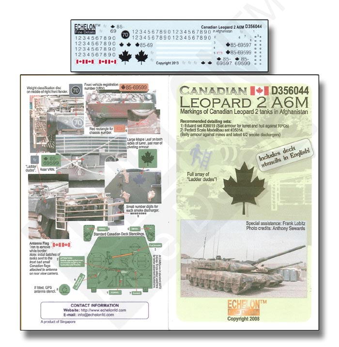 Echelon Decals Canadian Leopard MBT 2 A6M