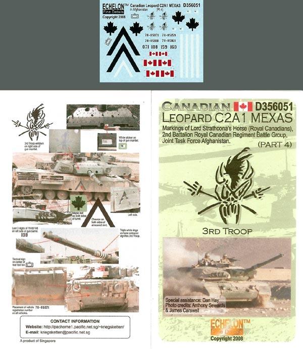 Echelon Decals Canadian Leopard MBT C2A1 MEXAS markings (Pt4)