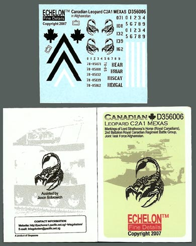 Echelon Decals Canadian Leopard MBT C2A1 MEXAS markings