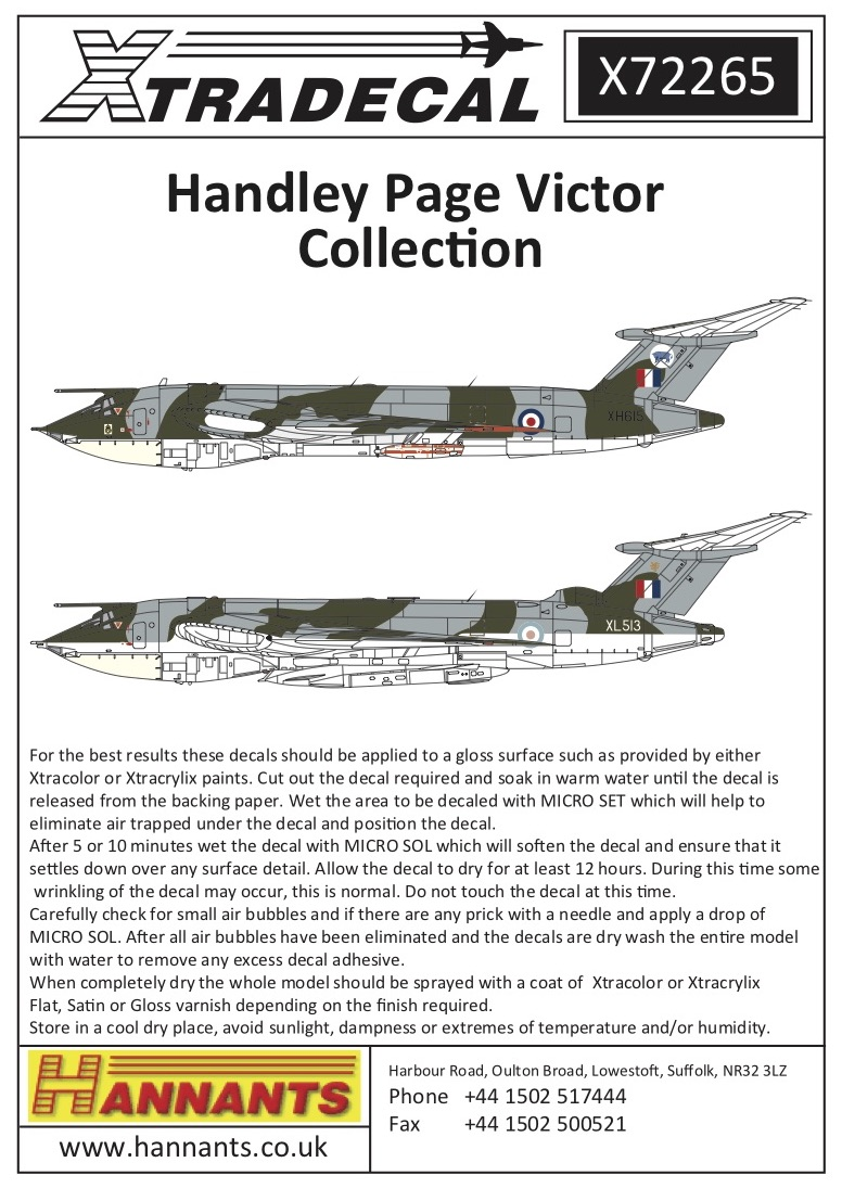 Handley-Page Victor Decals Mks.1 and 2