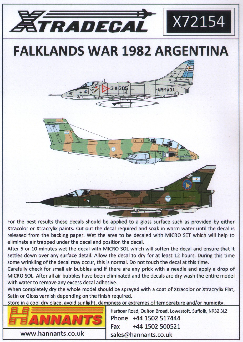 Xtradecal X72154 1:72 Falklands War 1982 Argentina