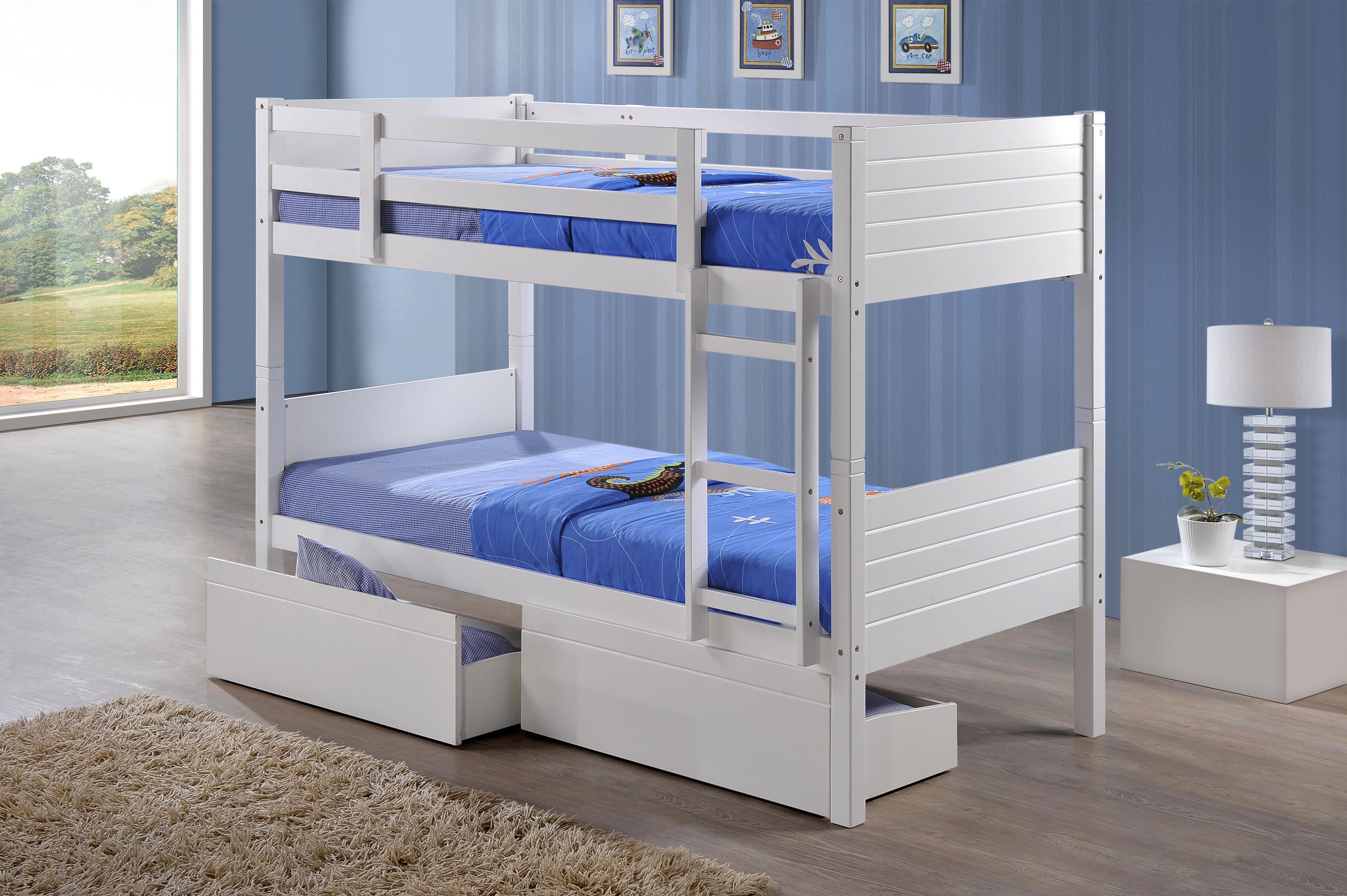3FT BEDFORD BUNK BED WITH DRAWERS IN WHITE