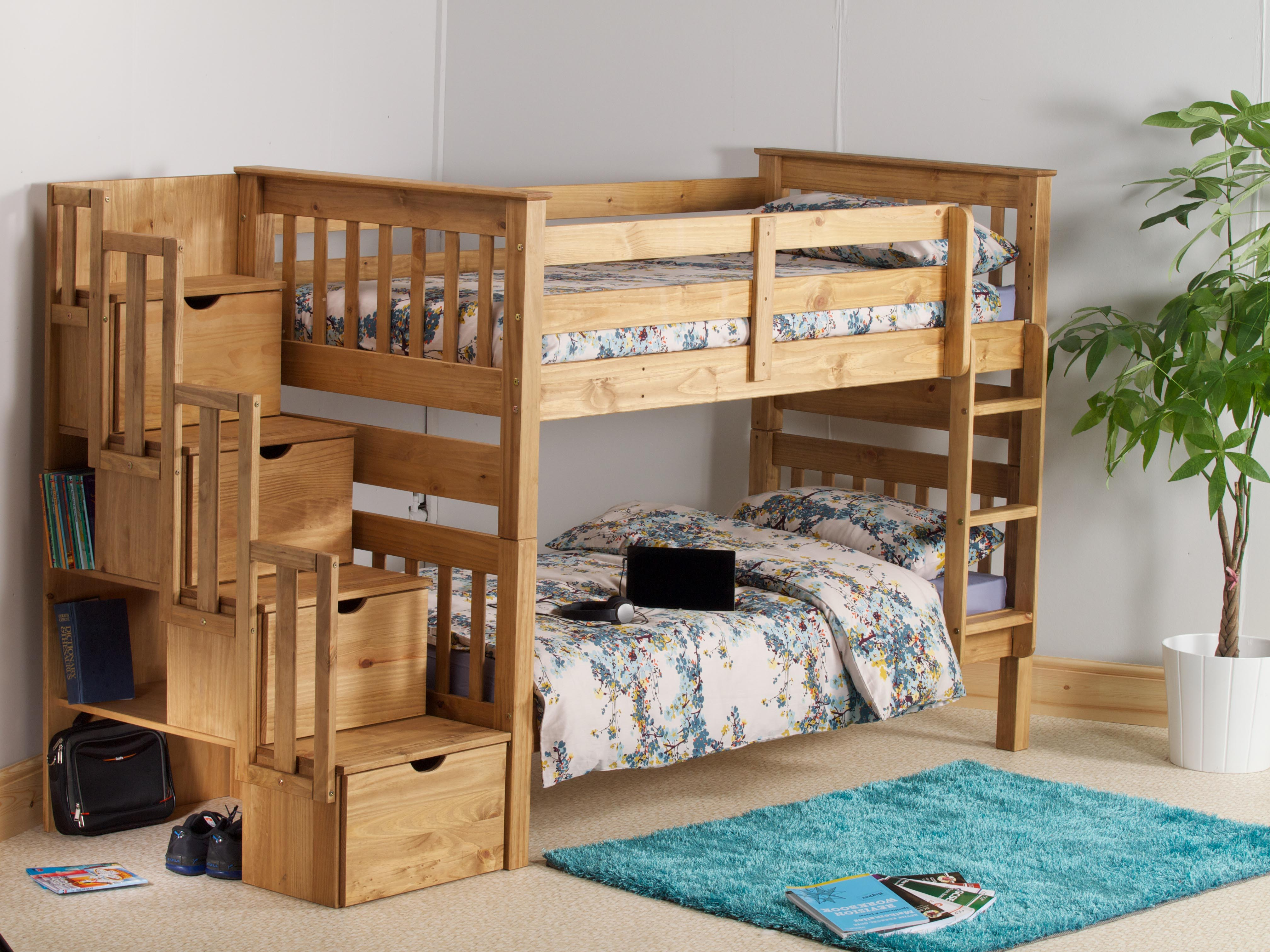 MISSION STAIRCASE BUNK BED IN WAXED PINE