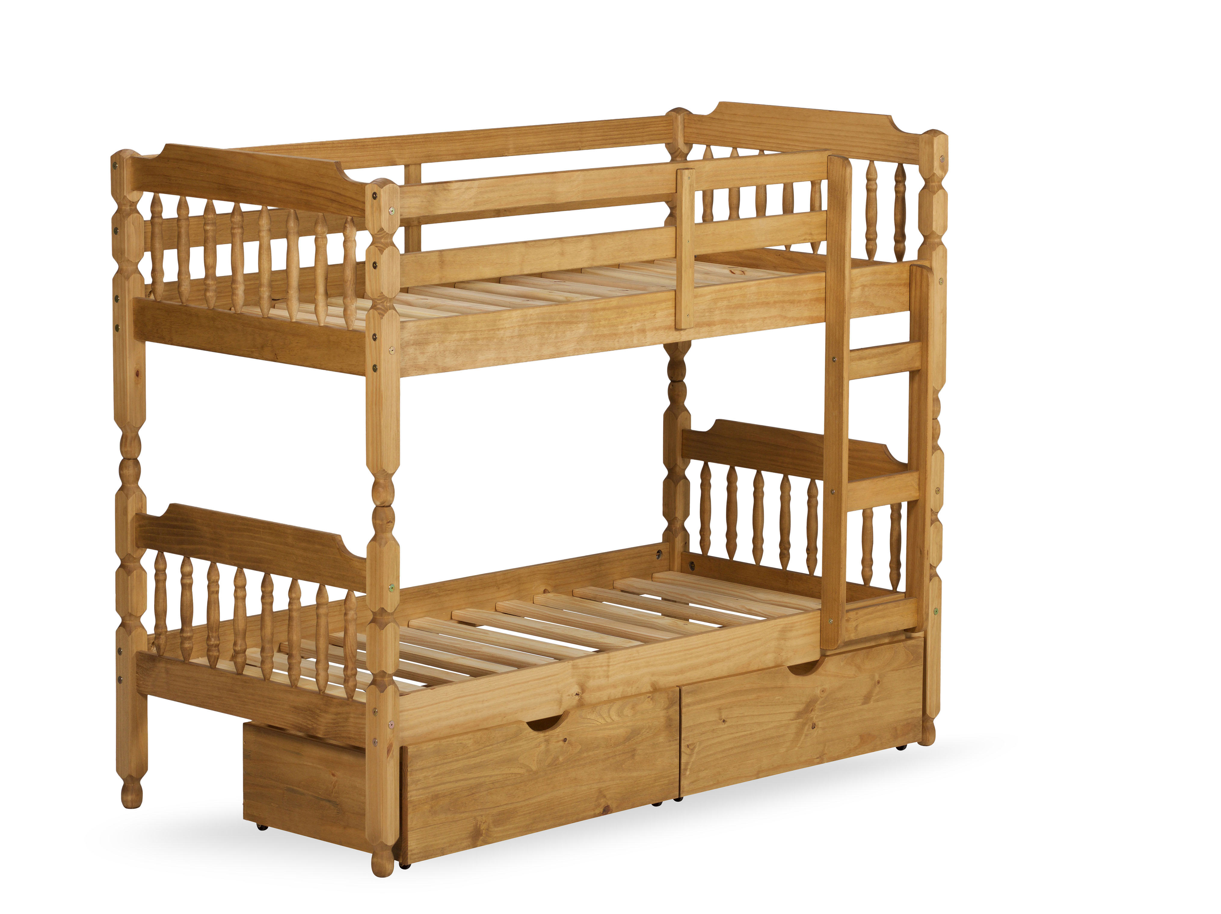 3FT COLONIAL SPINDLE BUNK BED IN WAXED PINE