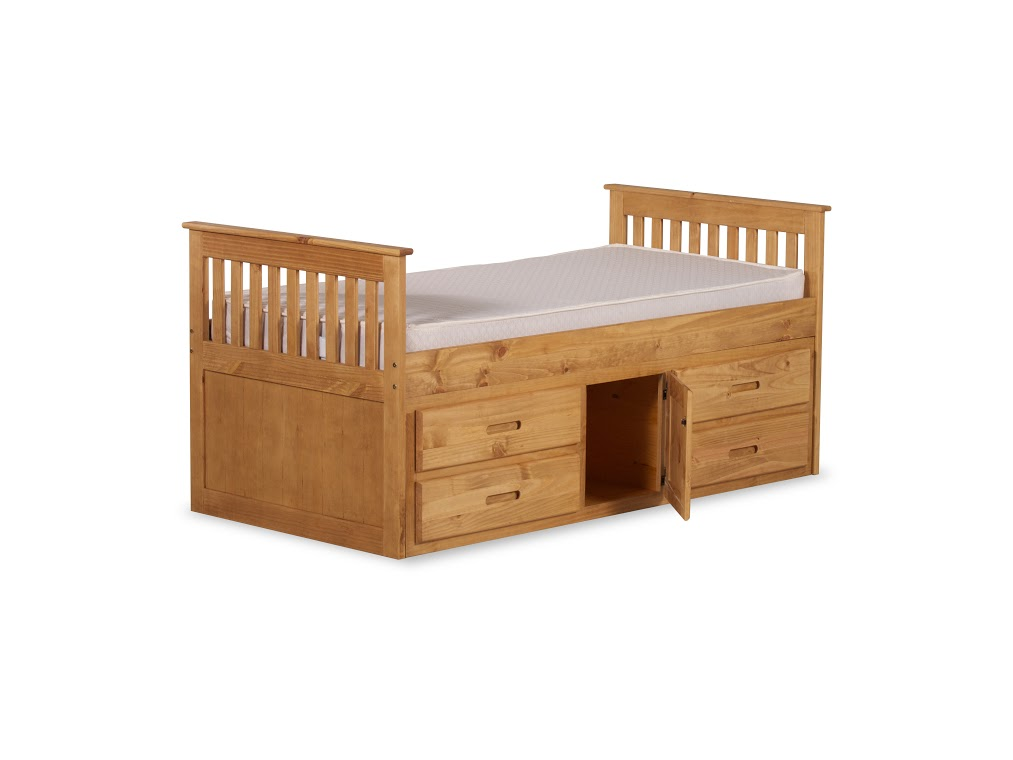 CAPTAINS STORAGE BED IN WAXED PINE