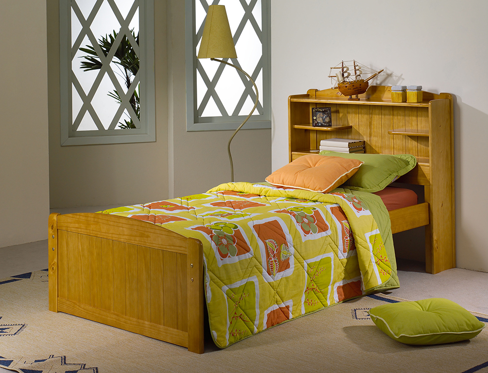 3FT BOOKCASE BED IN HONEY