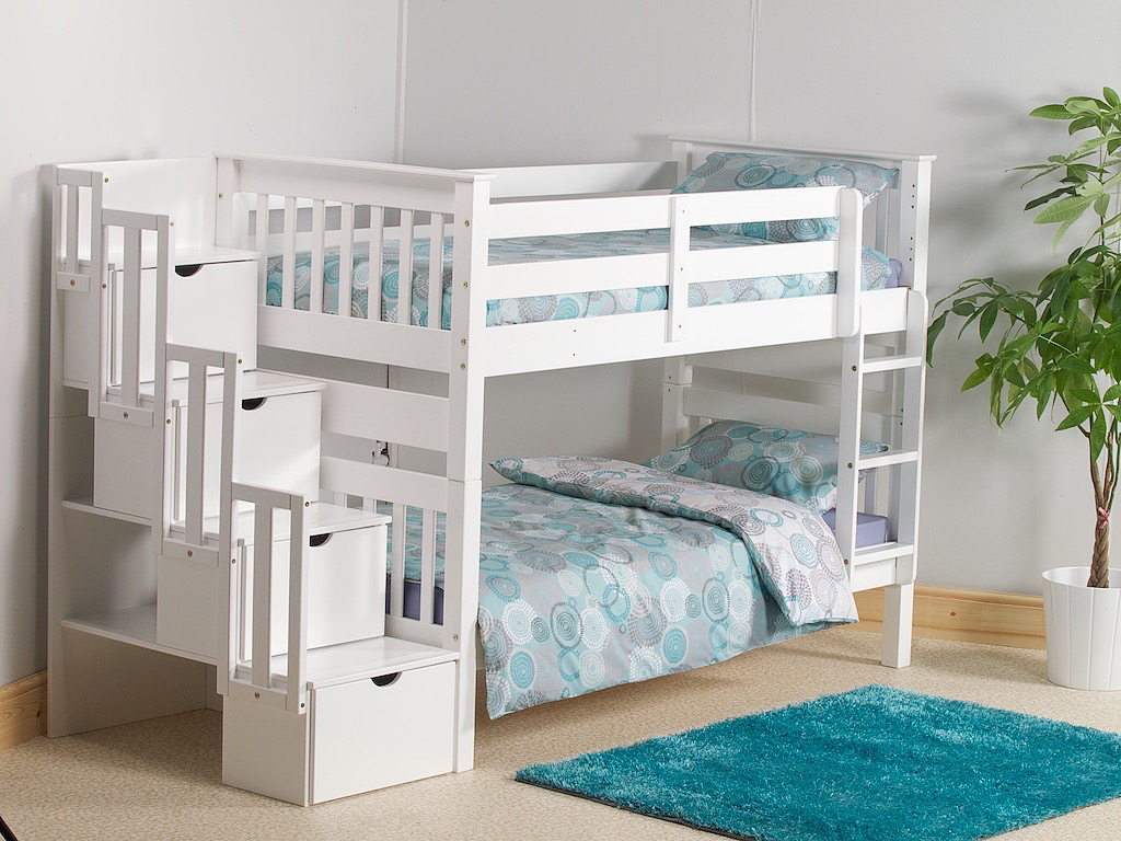 MISSION STAIRCASE BUNK BED IN WHITE PINE