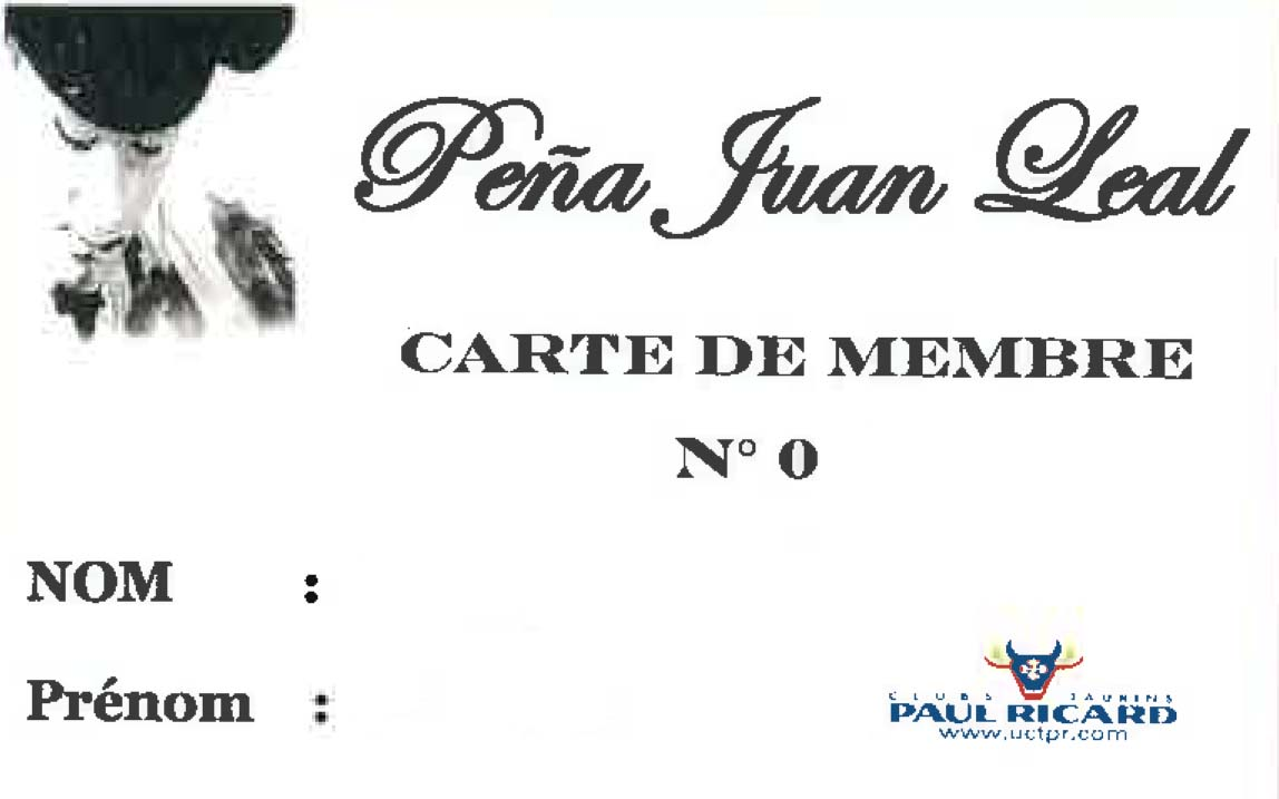 Carnet de socio peña Juan Leal