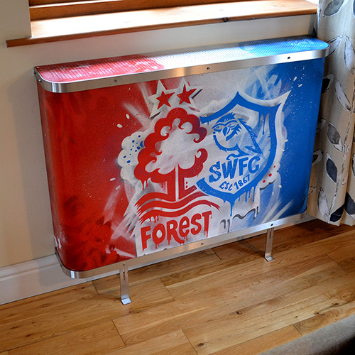 Full view of graffiti radiator covers