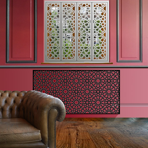 Moroccan style window shutters and radiator covers