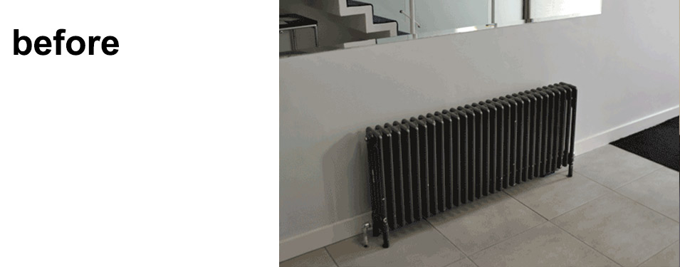 Before shot of modern hallway radiator