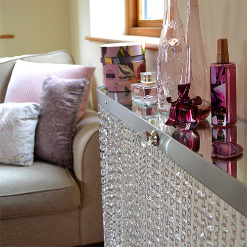 Crystal make up shelf and mirror top