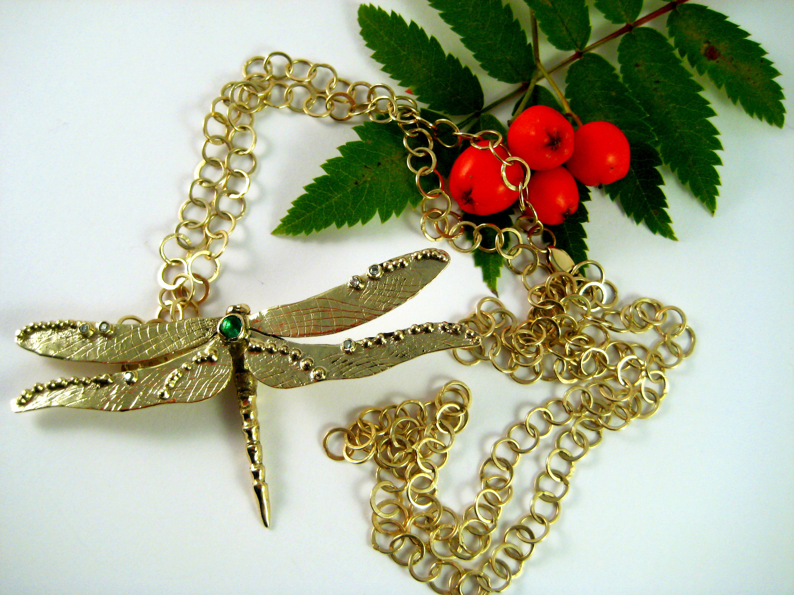 Gold Dragonfly and Handmade Chain