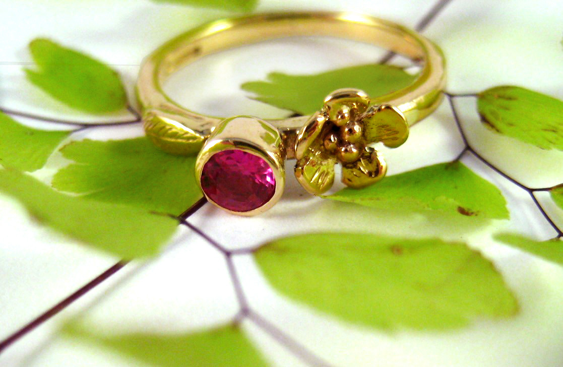 Pink Tourmaline Gold Solitaire Rose Ring