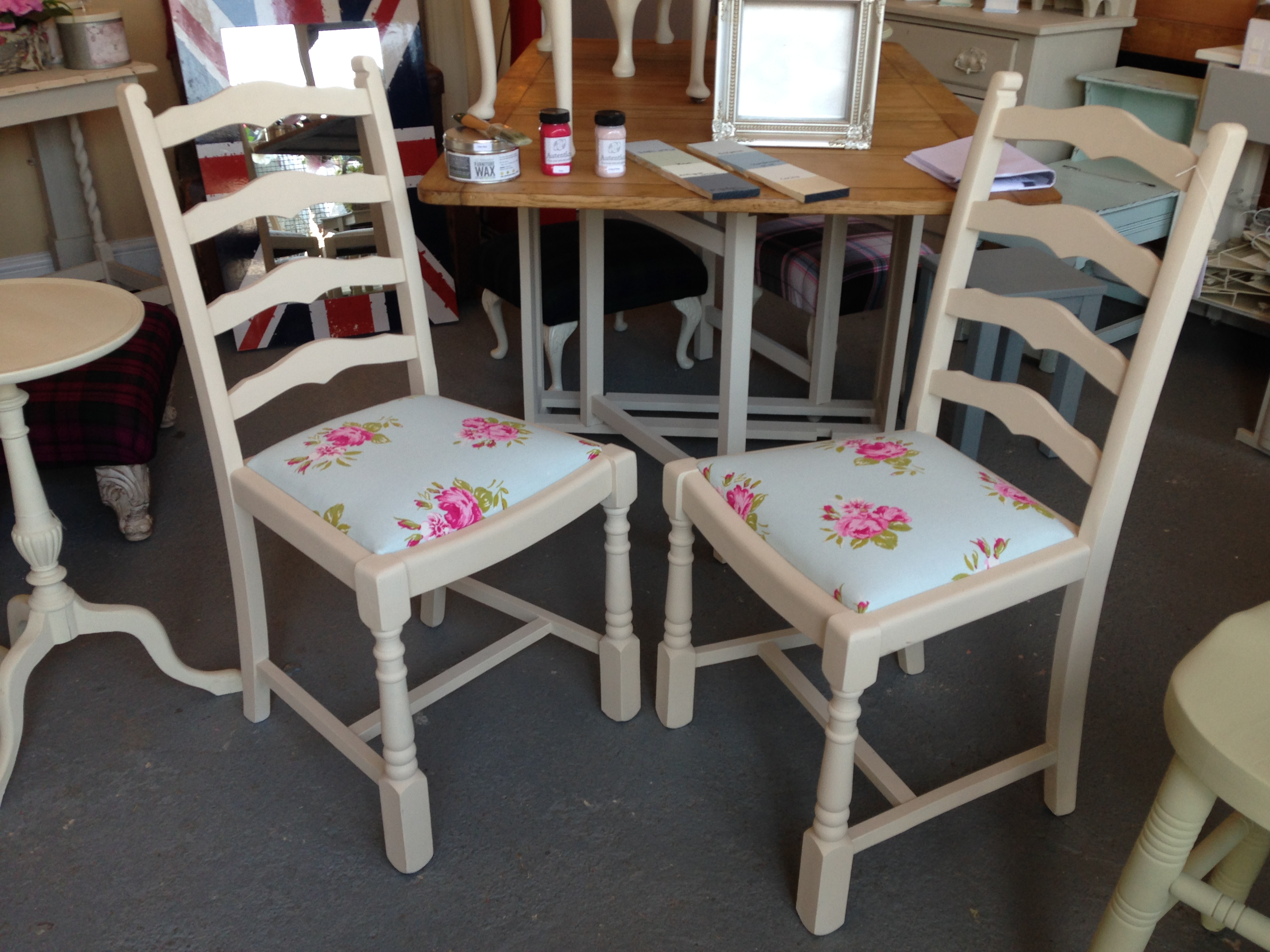 Pair of Shabby Chic Floral Chairs