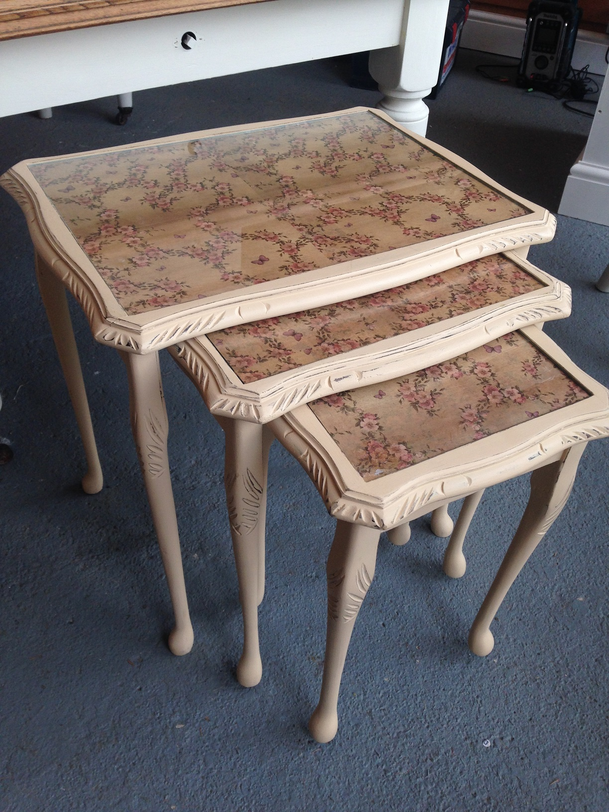 Three rooms nest tables nest of 3 shabby chic tables watchthetrailerfo