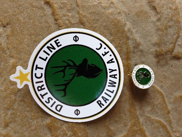 District Line AFC enamel badge & sticker set