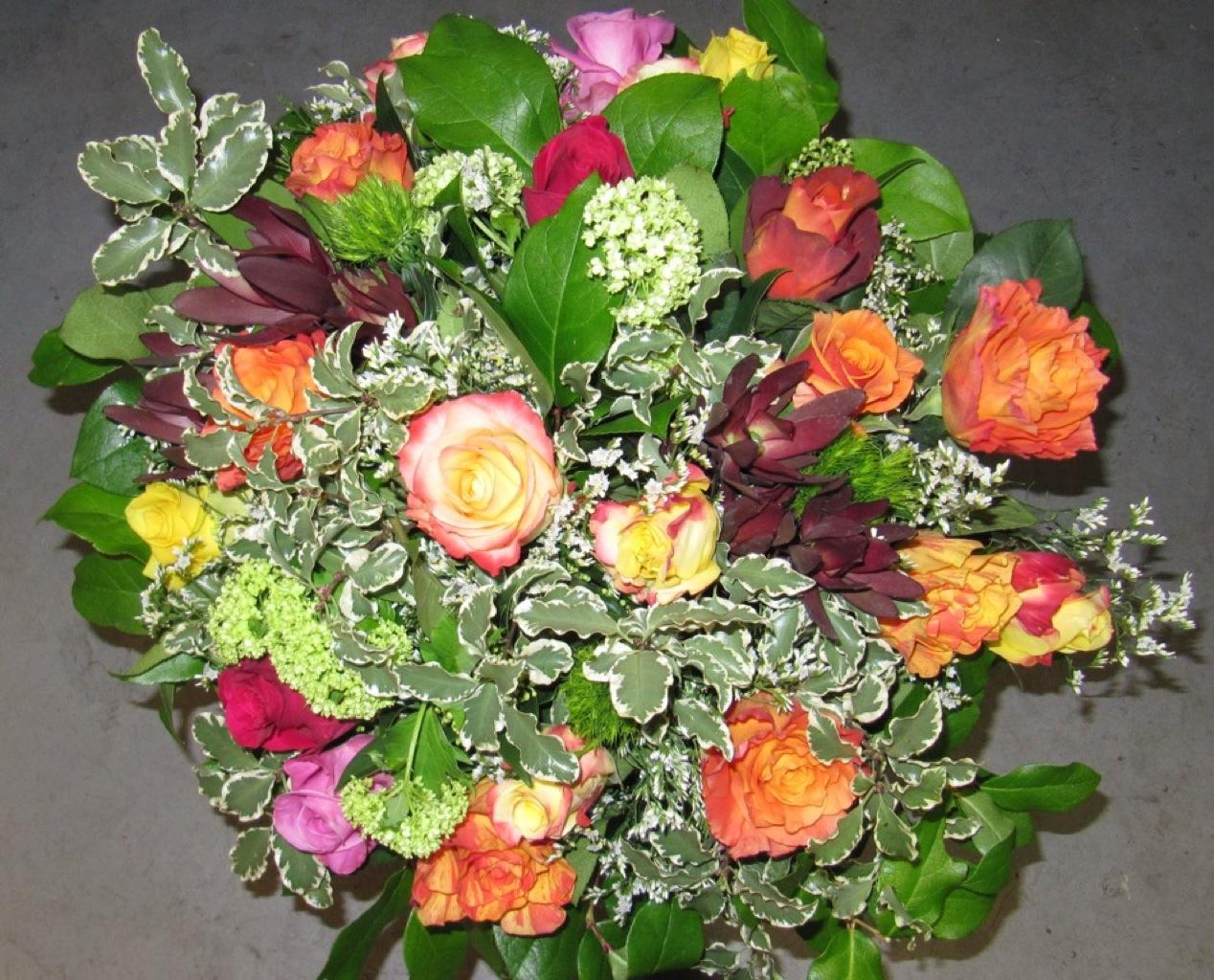Bouquet roses à l'ancienne