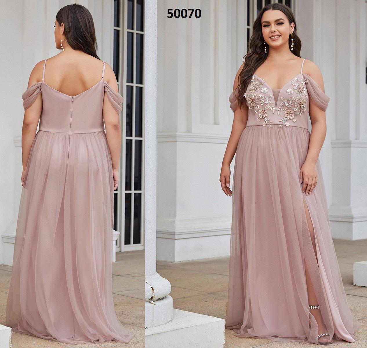 Vestidos de noche con cuello en V profundo y glamoroso con división 50070